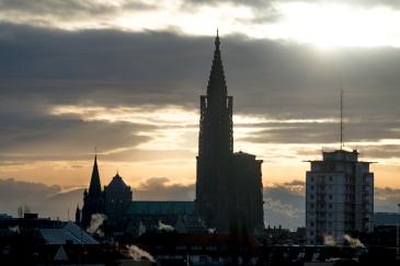 Couché de soleil sur la cathédrale de Strasbourg