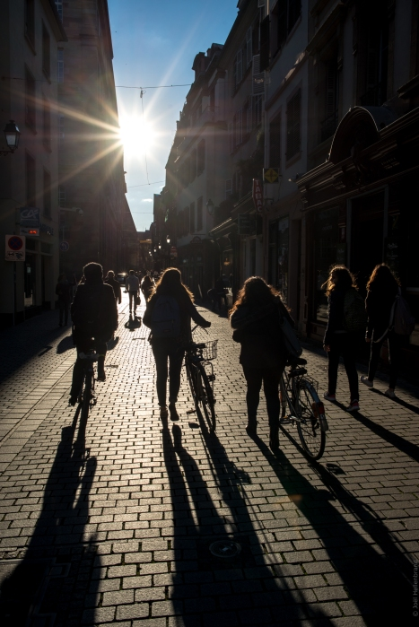 Cycliste sous les derniers rayons