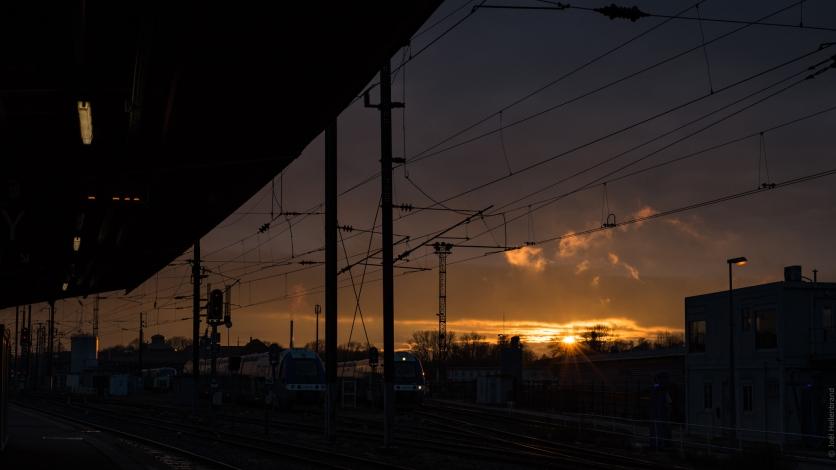 Gare de strasbourg sous le couché de soleil